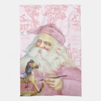 Victorian Santa Claus in Pink Toile de Juoy Kitchen Towel