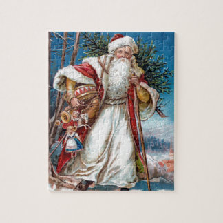 Victorian Santa Claus in Red Velvet and White Fur Jigsaw Puzzle
