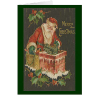 Victorian Santa on Chimney Card