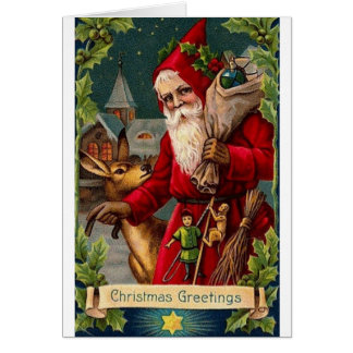 Victorian Santa with Sack Christmas Card