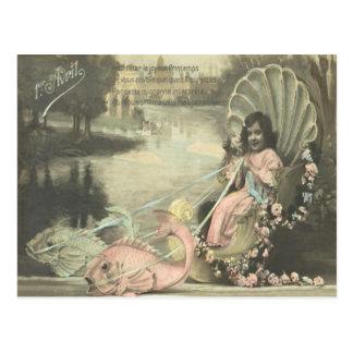 Victorian Shell Fish Poisson d'avril April Fool's Postcard