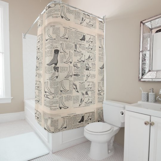 Victorian Shoes Newspaper Shower Curtain