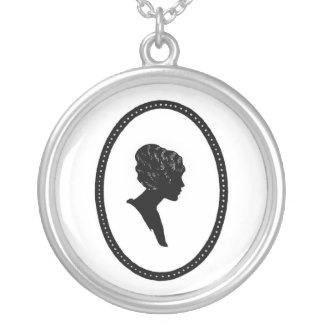 Victorian Silhouette Cameo Sterling Silver Necklac Silver Plated Necklace