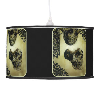 'Victorian Skull Study' on a hanging pendant lamp