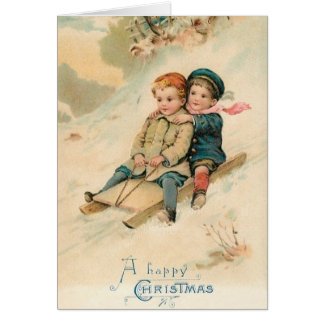 Victorian Sledding Happy Christmas Greeting Card