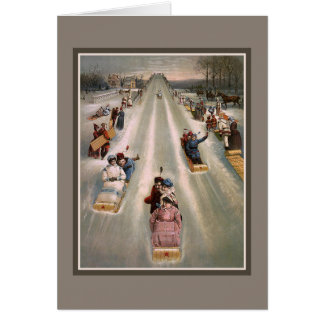 Victorian sleigh sled advertising card