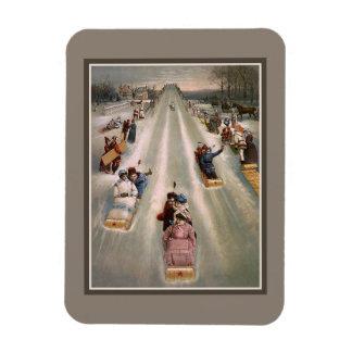 Victorian sleigh sled advertising magnet
