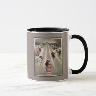 Victorian sleigh sled advertising mug