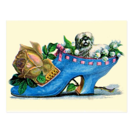 Victorian Slipper with Puppy and Rose Postcard