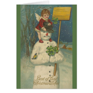 Victorian Snowman and Angel Christmas Card