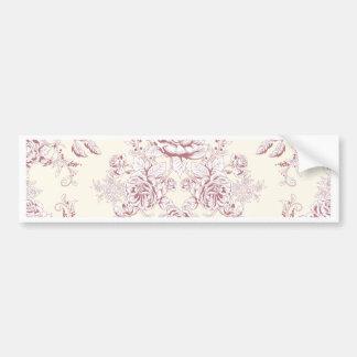 Victorian,soft yellow, soft pink,floral,pattern,vi bumper sticker