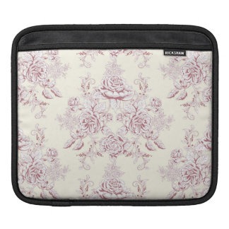 Victorian,soft yellow, soft pink,floral,pattern,vi iPad sleeve