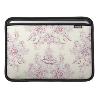 Victorian,soft yellow, soft pink,floral,pattern,vi MacBook sleeve