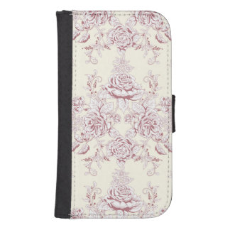 Victorian,soft yellow, soft pink,floral,pattern,vi samsung s4 wallet case