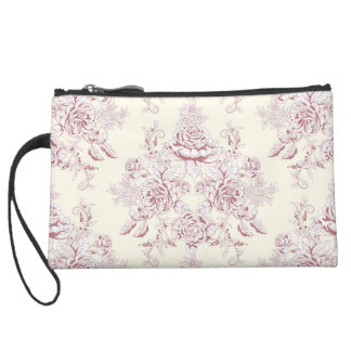 Victorian,soft yellow, soft pink,floral,pattern,vi suede wristlet