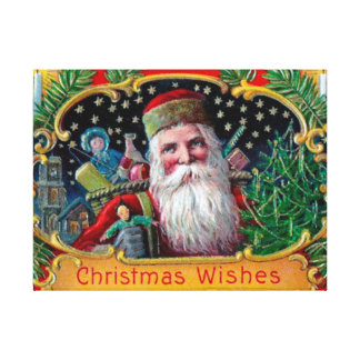 Victorian St. Nick with Gold Stars and Toys Gallery Wrapped Canvas