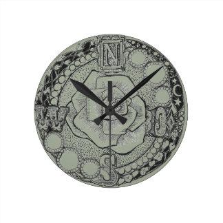 Victorian Steampunk Compass Rose Round Clock