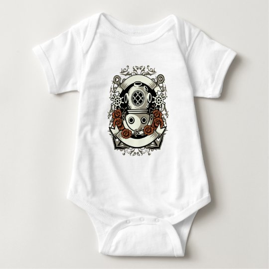 Victorian Steampunk Deep Sea Diver Red Roses Baby Bodysuit