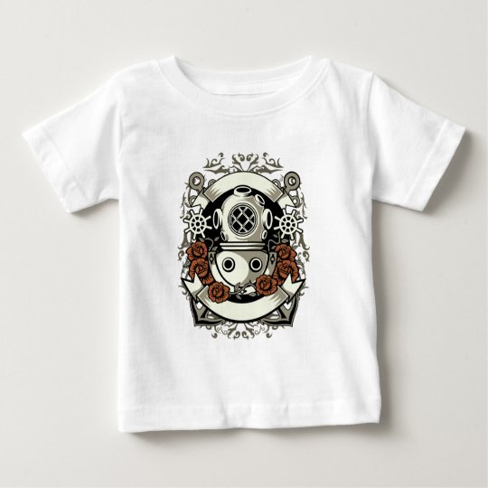 Victorian Steampunk Deep Sea Diver Red Roses Baby T-Shirt