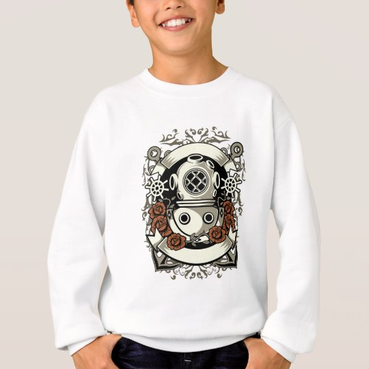 Victorian Steampunk Deep Sea Diver Red Roses Sweatshirt