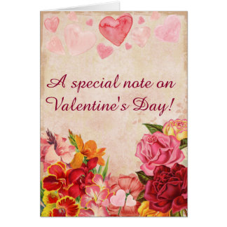 Victorian Steampunk Flowers Hearts Valentine's Day Card