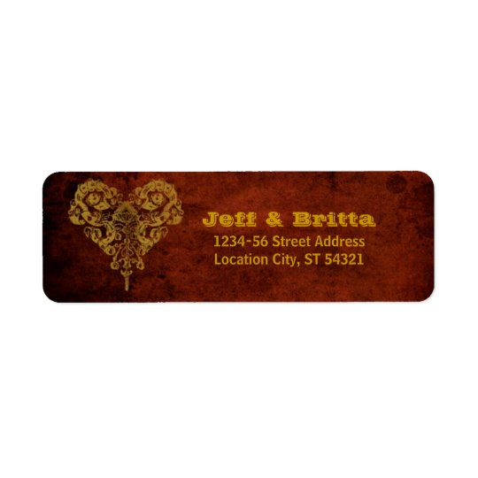 Victorian Steampunk Gears Heart Wedding Return Address Label