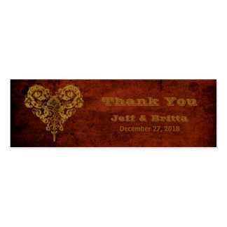 Victorian Steampunk (Heart) Wedding Favor Tags Pack Of Skinny Business Cards