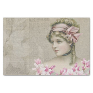 Victorian Steampunk Lady Newspaper Tissue Paper