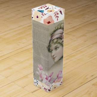 Victorian Steampunk Lady Newspaper Wine Gift Box