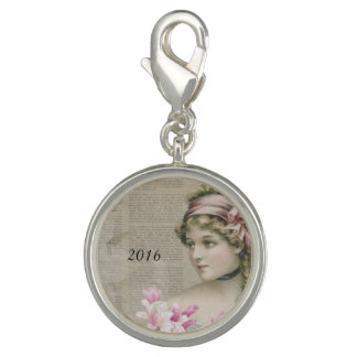 Victorian Steampunk Lady Pink Newspaper Charm