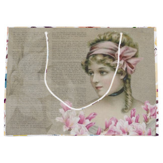 Victorian Steampunk Lady Pink Newspaper Gift Bag