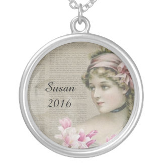 Victorian Steampunk Lady Pink Newspaper Necklace