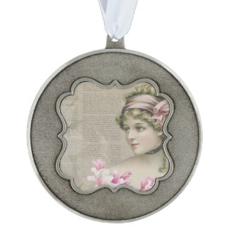 Victorian Steampunk Lady Pink Newspaper Ornament Scalloped Pewter Ornament