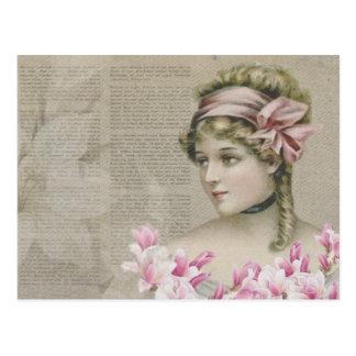 Victorian Steampunk Lady Pink Newspaper Postcard