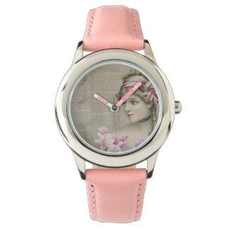 Victorian Steampunk Lady Pink Stainless Steel Wrist Watch
