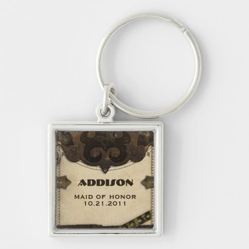 Victorian Steampunk Maid of Honor Keychain Favor