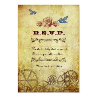 Victorian Steampunk RSVP Card w envelopes Personalized Invitations