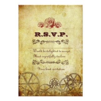 Victorian Steampunk RSVP Card w envelopes Invitations