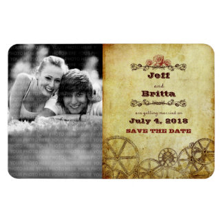 Victorian Steampunk Save the Date Photo Rectangular Photo Magnet