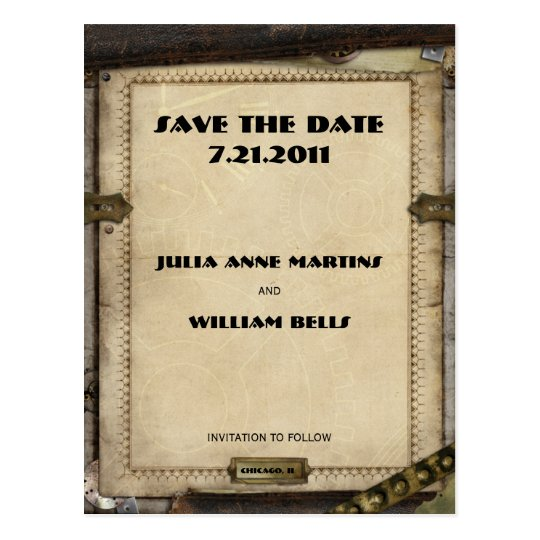 Victorian Steampunk Save the Date Postcards