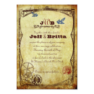 "Victorian Steampunk Wedding 5"" X 7"" Invitation Card"
