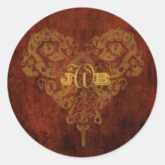 Victorian Steampunk Wedding Favor / Envelope Seal Round Sticker