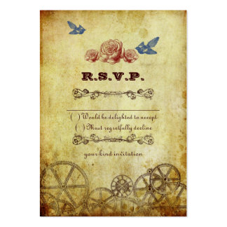 Victorian Steampunk Wedding RSVP Card Large Business Card