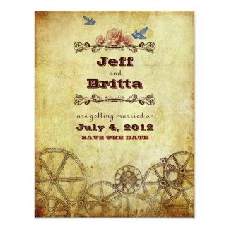 "Victorian Steampunk Wedding Save the Date 4.25"" X 5.5"" Invitation Card"