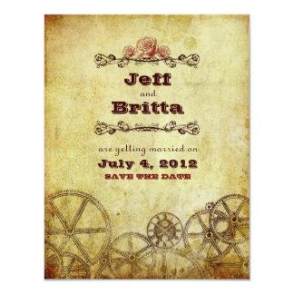 "Victorian Steampunk Wedding Save the Date v.2 4.25"" X 5.5"" Invitation Card"