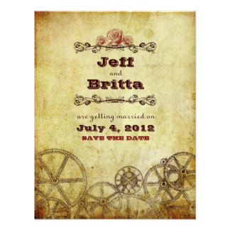 Victorian Steampunk Wedding Save the Date v 2 Personalized Invitations