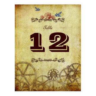 Victorian Steampunk Wedding Table Number Postcards