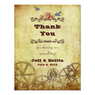 "Victorian Steampunk Wedding Thank You 4.25"" X 5.5"" Invitation Card"