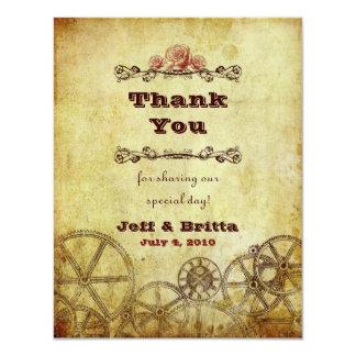 """Victorian Steampunk Wedding Thank You v.2 4.25"""" X 5.5"""" Invitation Card"""