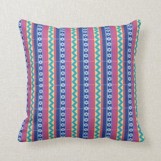 Victorian striped and zig zag patterned cushion